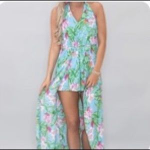 Pink Lily Boutique Tropical Floral Maxi Romper